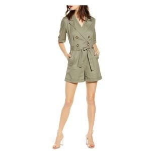 Leith double breasted tie waist utility romper